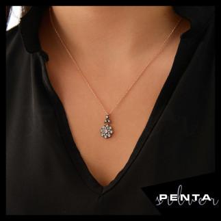 Penta Silver - Elmas Montür Çiçek Gümüş Kolye