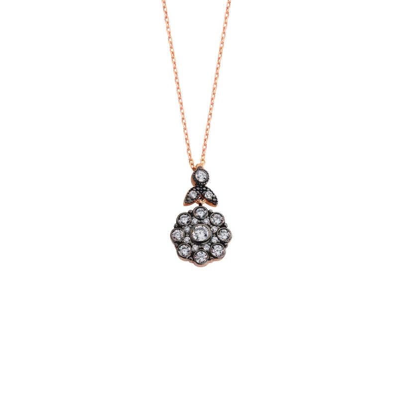 Elmas Montür Çiçek Gümüş Kolye