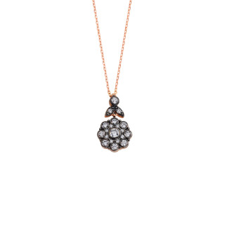 Elmas Montür Çiçek Gümüş Kolye - Thumbnail