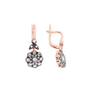Elmas Montür Çiçek Gümüş Küpe - Thumbnail