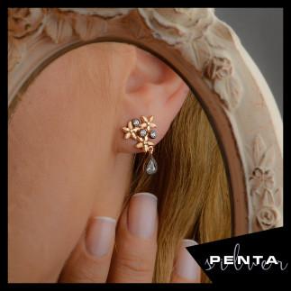 Penta Silver - Elmas Montür Çiçek Motifli Gümüş Küpe