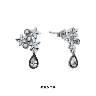 Elmas Montür Çiçek Motifli Gümüş Küpe - Thumbnail