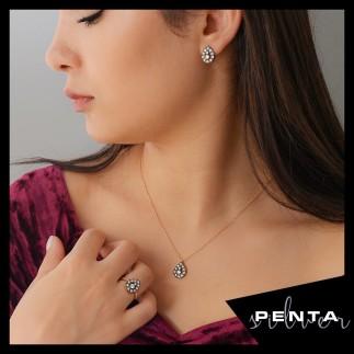 Penta Silver - Elmas Montür Damla Anturaj Gümüş Takı Seti (1)