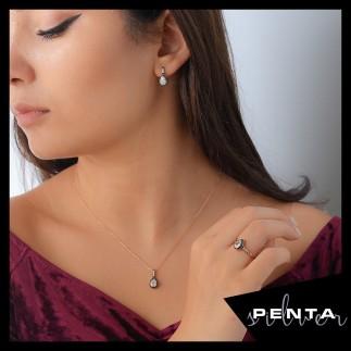 Penta Silver - Elmas Montür Damla Gümüş Takı Seti (1)