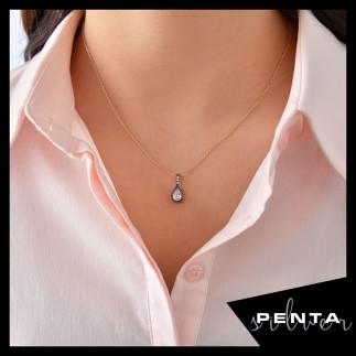 Penta Silver - Elmas Montür Damla Taşlı Gümüş Kolye