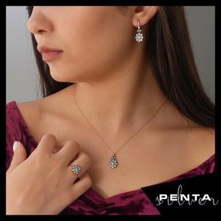 Penta Silver - Elmas Montür Gül Gümüş Takı Seti