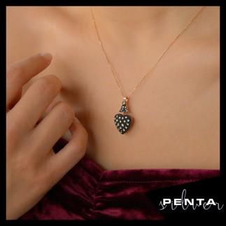 Penta Silver - Elmas Montür Kalpli Gümüş Kolye