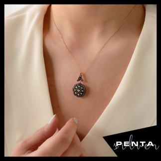 Penta Silver - Elmas Montür Nazende Gümüş Kolye
