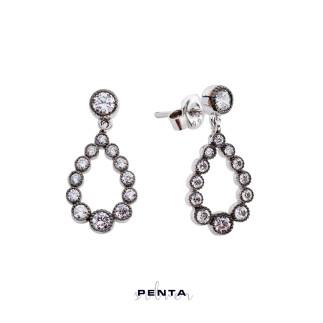 Penta Silver - Elmas Montür Süzme Damla Gümüş Küpe