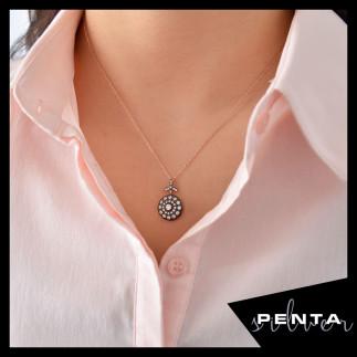 Penta Silver - Elmas Montür Yuvarlak Çiçek Gümüş Kolye