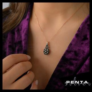 Penta Silver - Elmas Montür Yuvarlak Gümüş Kolye