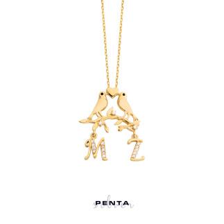 Penta Silver - Gönül Kuşları Harfli Gümüş Kolye