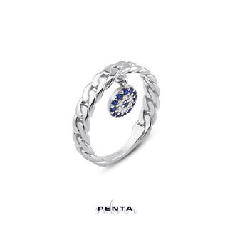 Penta Silver - Göz Boncuklu Örme Gümüş Yüzük (1)