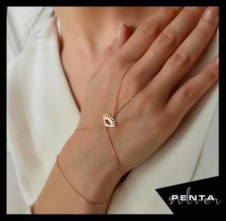 Penta Silver - Göz Motifli Gümüş Şahmeran Bileklik (1)