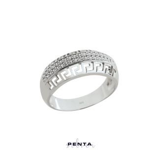 Penta Silver - Grek Desenli Çift Sıra Zirkon Gümüş Yüzük