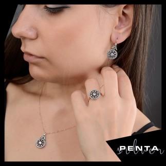 Penta Silver - Gül Elmas Montür Gümüş Takı Seti