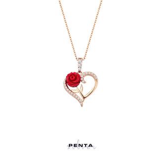 Penta Silver - Güllü Kalp Gümüş Kolye (1)