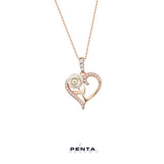 Penta Silver - Güllü Kalp Gümüş Kolye