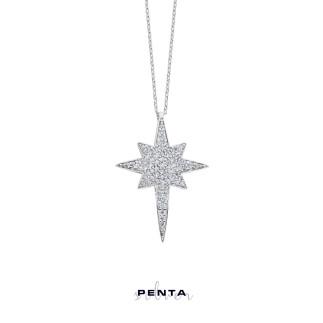 Gümüş Kutup Yıldızı Kolye - Thumbnail