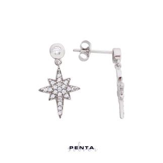 Penta Silver - Gümüş Kutup Yıldızı Küpe