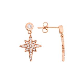 Gümüş Kutup Yıldızı Küpe - Thumbnail