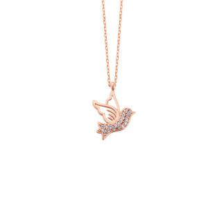 Güvercin Gümüş Kolye Zirkon Taşlı - Thumbnail