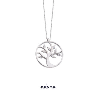 Penta Silver - Halka Hayat Ağacı Gümüş Kolye (1)
