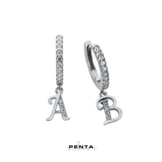 Penta Silver - Harfli Halka Gümüş Küpe