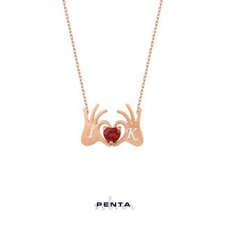 Penta Silver - Harfli Kalpli El Gümüş Kolye