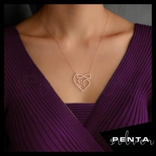 Penta Silver - Harfli Kalpli Sonsuzluk Gümüş Kolye