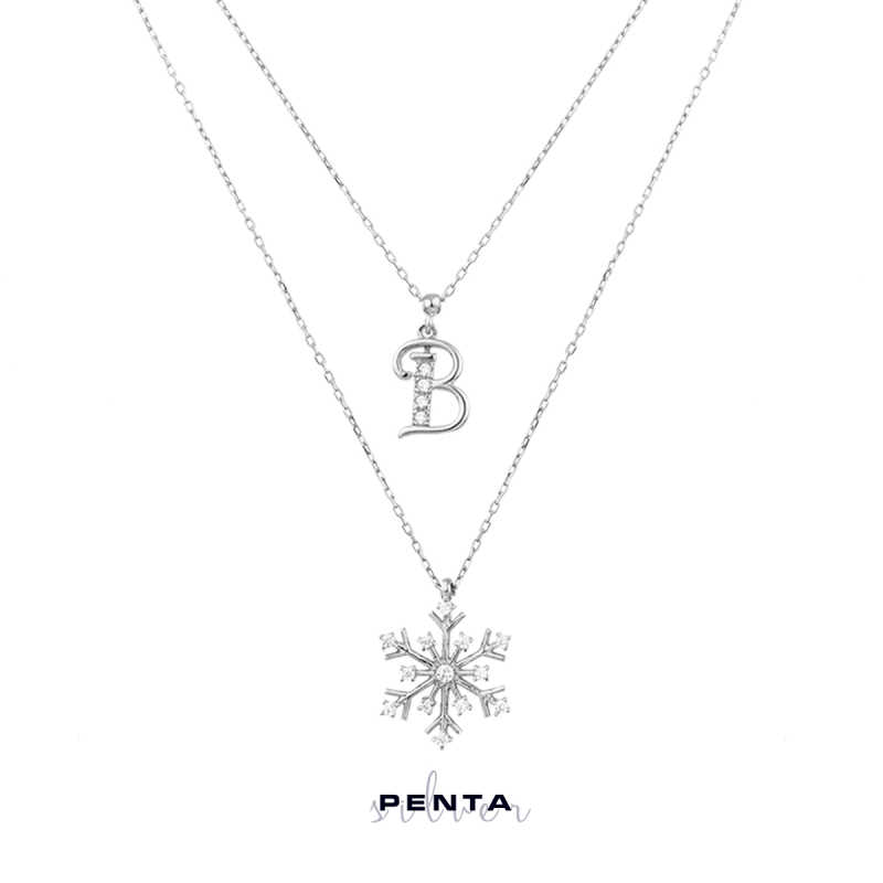 Harfli Kar Tanesi Çift Zincir Gümüş Kolye