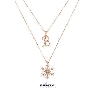 Penta Silver - Harfli Kar Tanesi Çift Zincir Gümüş Kolye