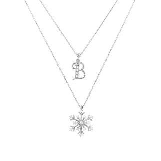 Harfli Kar Tanesi Çift Zincir Gümüş Kolye - Thumbnail