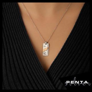 Penta Silver - Harfli Levha Çift Gümüş Kolye