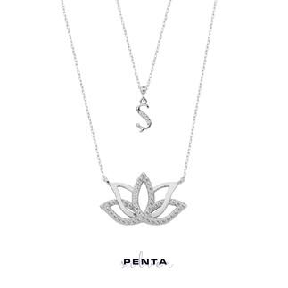Penta Silver - Harfli Lotus Çiçeği Gümüş Kolye Çift Zincirli (1)