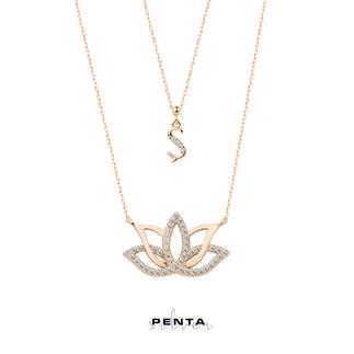 Harfli Lotus Çiçeği Gümüş Kolye Çift Zincirli - Thumbnail