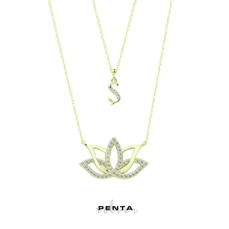 Harfli Lotus Çiçeği Gümüş Kolye Çift Zincirli