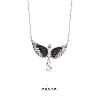Penta Silver - Harfli Melek Gümüş Kolye