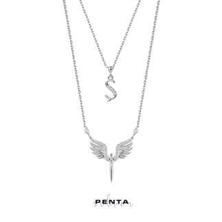 Penta Silver - Harfli Mikail Meleği Melek Gümüş Kolye Çift Zincirli