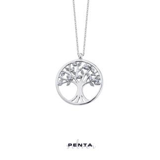 Penta Silver - Hayat Ağacı Gümüş Kolye Zirkon Taşlı