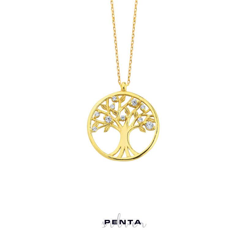 Hayat Ağacı Gümüş Kolye Zirkon Taşlı