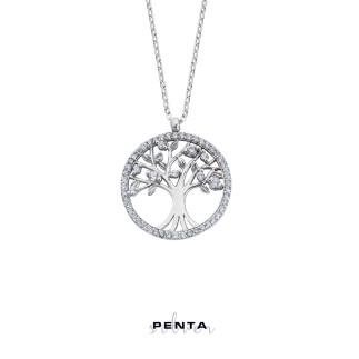 Penta Silver - Hayat Ağacı Zirkon Taşlı Gümüş Kolye (1)