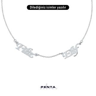 Penta Silver - İki İsimli Gümüş Kolye