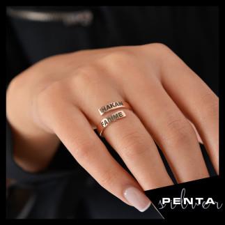 Penta Silver - İki İsimli Gümüş Yüzük