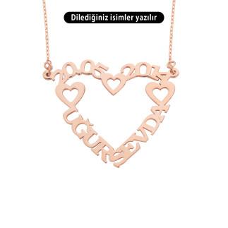İki İsimli Kalpli Gümüş Kolye - Thumbnail