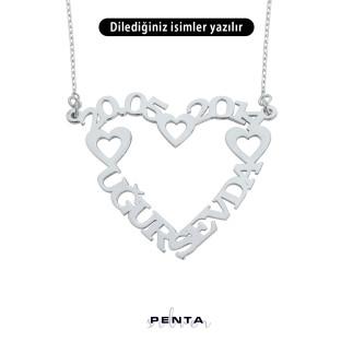 Penta Silver - İki İsimli Kalpli Gümüş Kolye