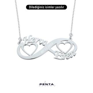 İki İsimli Kalpli Sonsuzluk Gümüş Kolye - Thumbnail