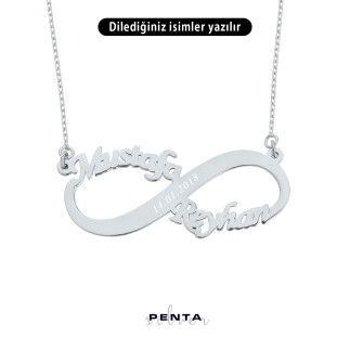 Penta Silver - İki İsimli Sonsuzluk Gümüş Kolye