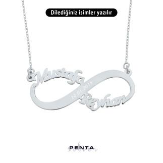 Penta Silver - İki İsimli Sonsuzluk Gümüş Kolye (1)