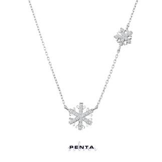 Penta Silver - İkili Kar Tanesi Gümüş Kolye